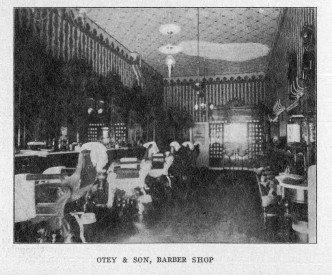 In Henry Otey's barbershop, shown here in 1904, barbers and clients carried on lively conversations during haircuts and shaves. Through these informal exchanges, Otey spread word of Willie Kay's blossoming dressmaking business. Courtesy of the State Archives of North Carolina