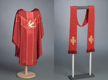 East-facing chasuble and stole, Venetian brocade, embellished with embroidered trefoil dove descendant and Christogram, ca. 1965. Made by Willie Otey Kay and Mildred Otey Taylor for Saint Ambrose Episcopal Church.