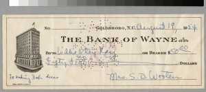 This canceled check shows what a client paid for a debutante dress in 1954. Courtesy of Mrs. Louise Wooten Talley