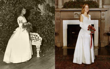 Willie Kay made sure that black and white women, like these two debutantes, had access to her designs. Left: Courtesy of Natalie Wilson Perkins Right: Courtesy of Mr. Ralph Campbell Jr. / Copyright Cotswold Photography, Charlotte