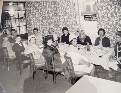 June Kay Campbell, Inez Kay White, Dora Otey, Elizabeth Otey Constant, Willie Otey Kay, Mildred Otey Taylor, Chloe Otey Jervay Laws, and other members attend a Gay Matrons or Links meeting, ca. 1960–1965. Courtesy of Ms. Wanda Kay