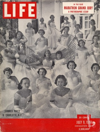Life magazine showcased Charlotte debutantes—including one young woman wearing a Kay gown—in this summer 1951 issue.