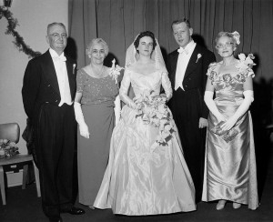 Doris Dosher (far right) celebrates with her son and daughter-in-law, Richard and Martha Barber Dosher, and the bride's parents, Marshal and Maude Barber. Courtesy of Ms. Martha Barber Dosher