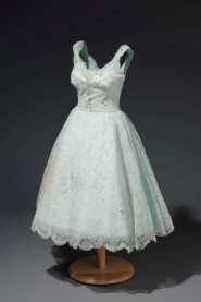 Party dress, Alençon-style lace, nylon tulle, and satin acetate, 1955. Made by Willie Otey Kay for Kate T. Webb. Embellished by Elizabeth Otey Constant with sequins and beads. Museum Collection