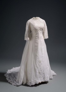 Wedding gown, satin acetate and nylon lace with rayon overlay, 1969. Made by Willie Otey Kay for Synthia Teele. Embellished by Elizabeth Otey Constant with bugle beads and sequins. Courtesy of Synthia Teele Roberson, MD