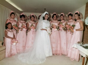 Willie Kay designed the gown for Synthia Teele's April 5, 1969, wedding. Kay also made Teele's bridesmaids' dresses. Because the women lived out of state, Kay worked strictly from measurements. The women did not try on the gowns until shortly before the ceremony. Courtesy of Synthia Teele Roberson, MD