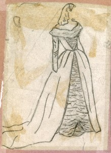 Kay often sketched her ideas before beginning a new project. She preserved this drawing in her photo album Courtesy of Mr. Ralph Campbell Jr.