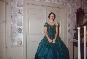Louise Wooten donned this teal gown in 1954. Courtesy of Mrs. Louise Wooten Talley