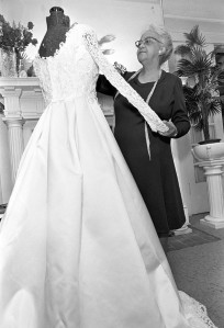 Willie Kay finishes a gown on her dress form, 1974. Courtesy of The News & Observer of Raleigh