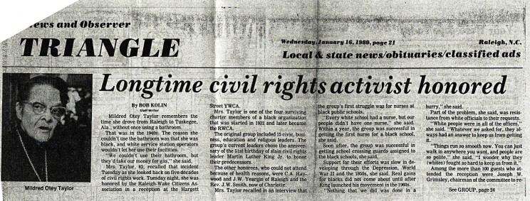 Mildred Otey Taylor honored in a News & Observer article, January 16, 1980. Courtesy of Mrs. Bessie H. Taylor and The News & Observer.